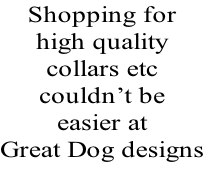 Shopping for  high quality collars etc couldn't be  easier at  Great Dog designs